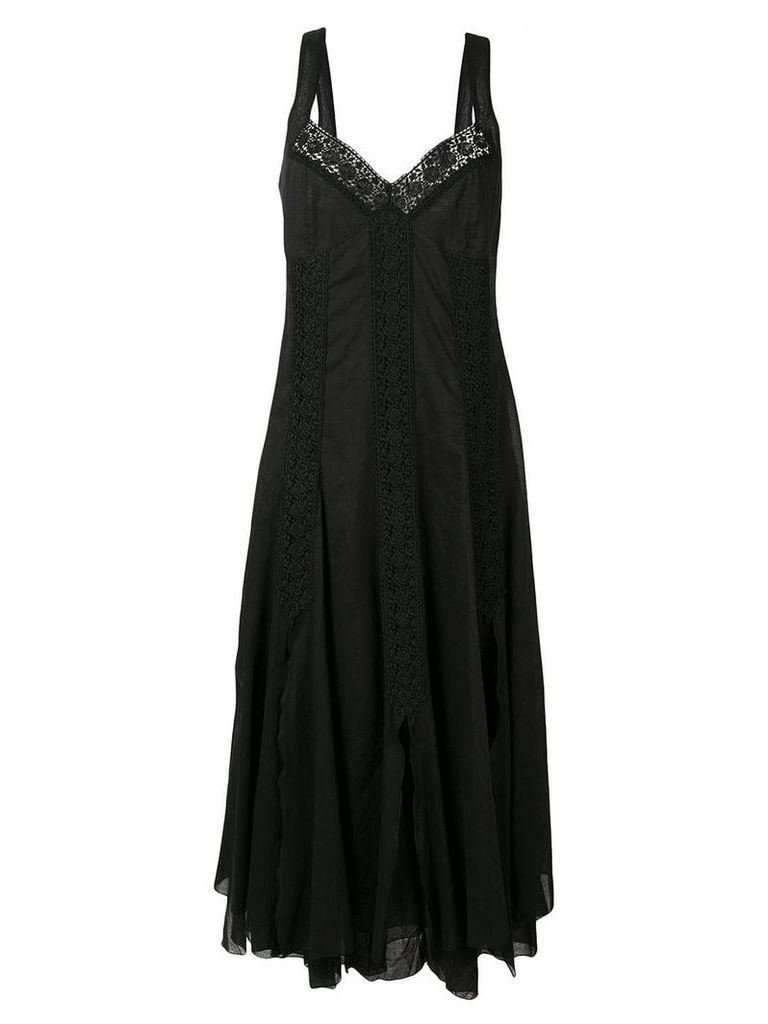 Charo Ruiz floral lace inserts dress - Black