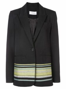 Derek Lam 10 Crosby Single Button Blazer with Embroidery - Black