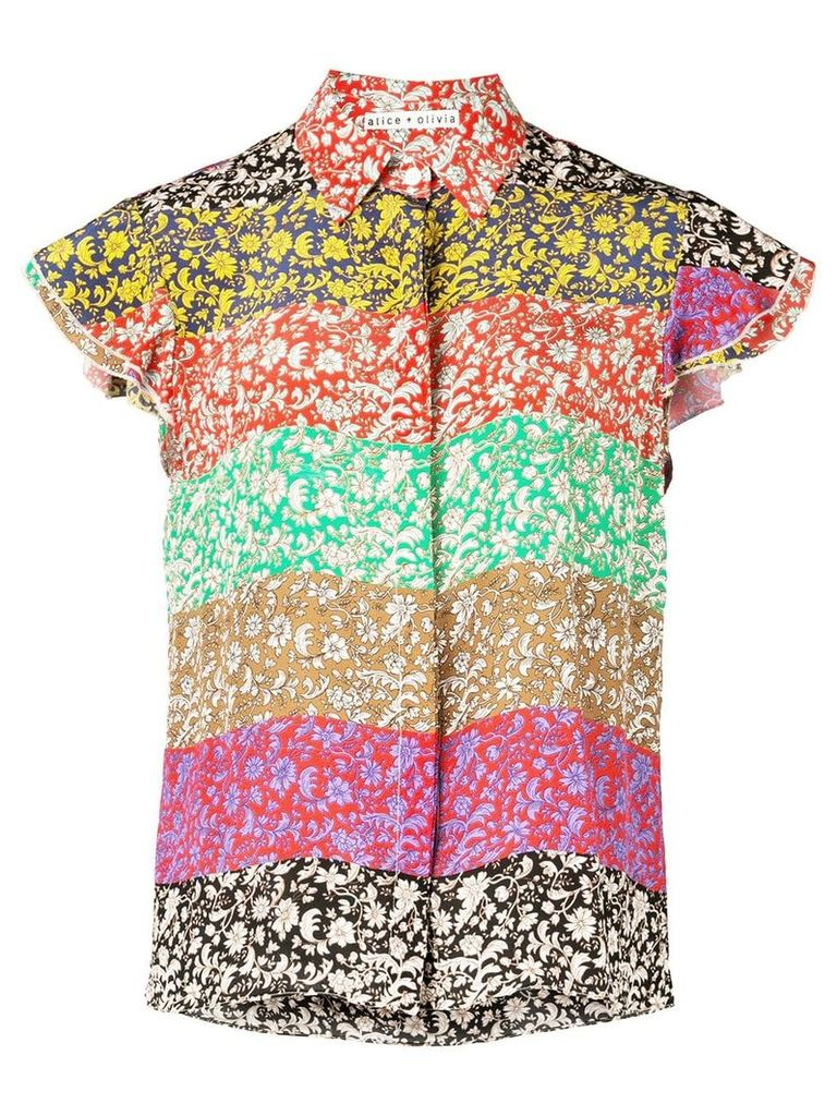 Alice+Olivia Willa Flutter sleeve top - Multicolour