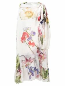 Ganni floral wrap skirt - White