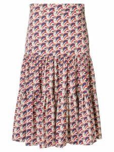La Doublej print flared midi skirt