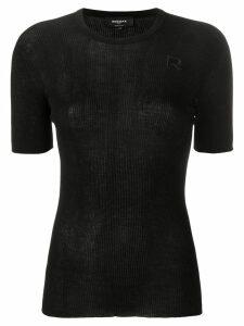 Rochas knitted logo top - Black