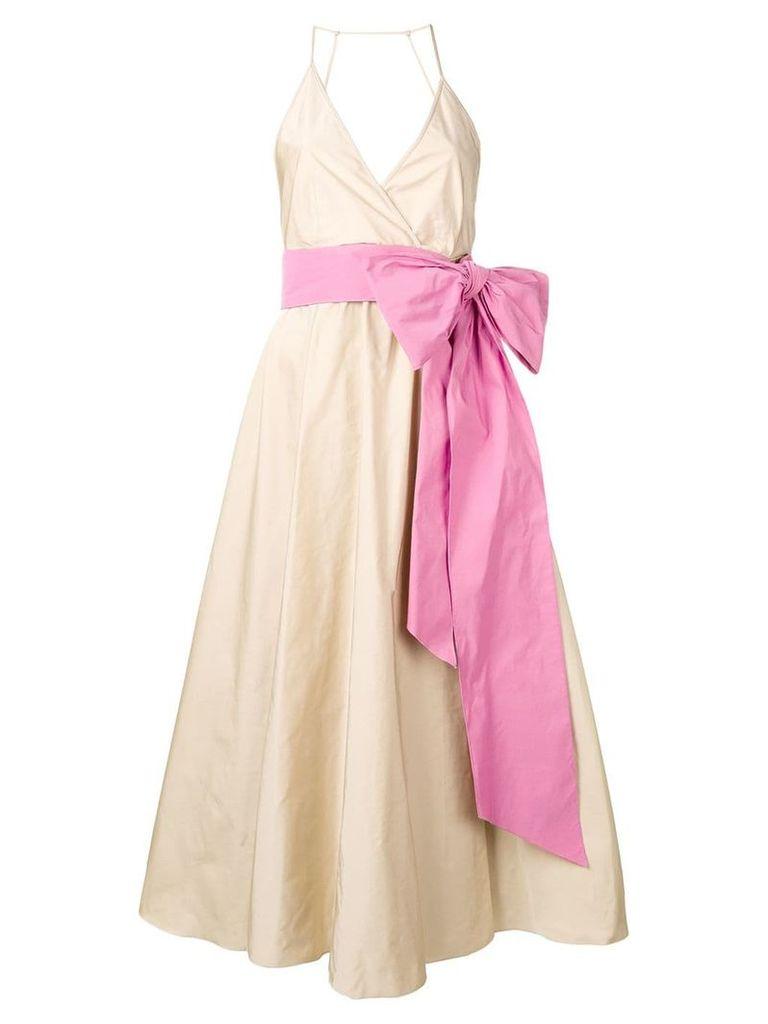 Nº21 flared bow dress - Neutrals