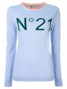 Nº21 logo intarsia jumper - Blue