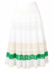 Tory Burch colour-block flared skirt - White