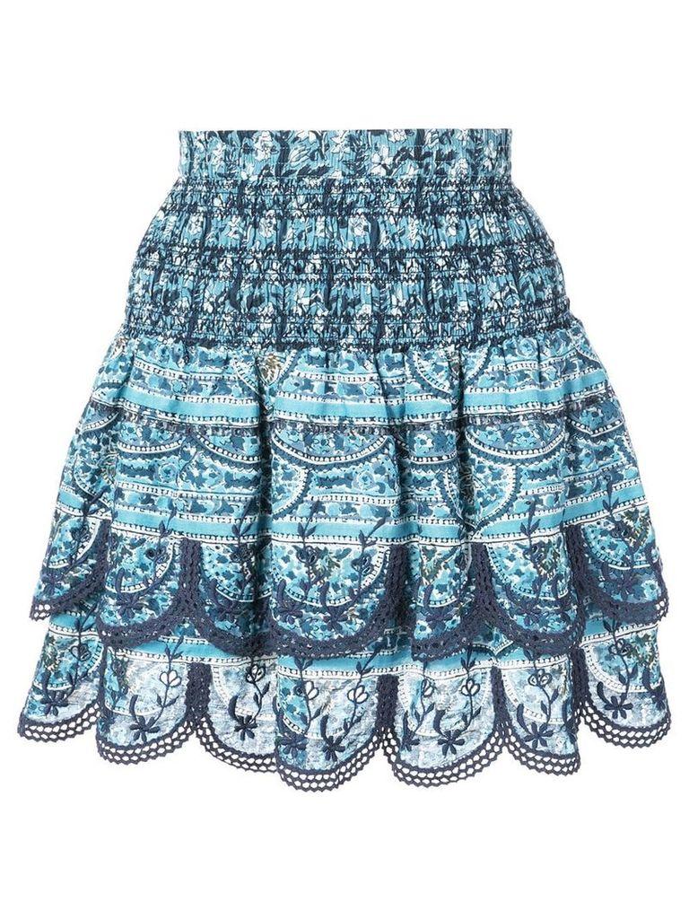 Sea floral print A-line skirt - Blue