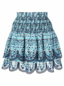 Sea floral print A-line skirt - Blue