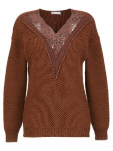 Nk knitted sweater with lace detail - Brown