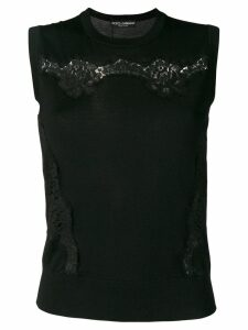 Dolce & Gabbana floral lace inserts knitted top - Black