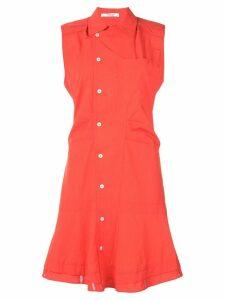 Derek Lam 10 Crosby Sleeveless Ruffle Placket Shirtdress - Red