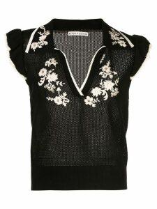 Alice+Olivia Igby Ember ruffle collared sweater - Black
