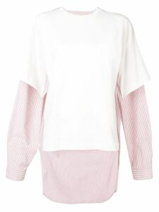 Mm6 Maison Margiela tailored panelled T-shirt - White