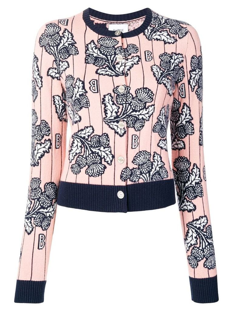 Barrie cashmere intarsia cardigan - Pink