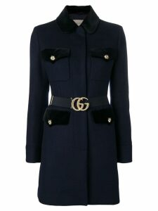 Gucci velvet-trimmed single breasted coat - Blue