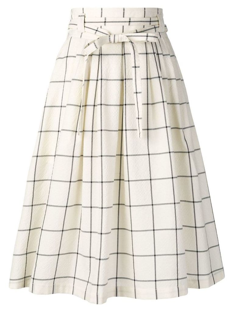 PS Paul Smith check print A-line skirt - Neutrals
