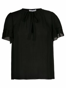 Nk pussy bow silk blouse - Black