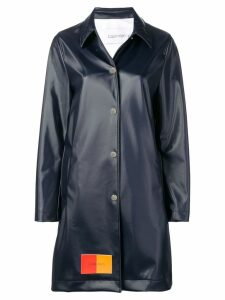 Calvin Klein two-tone logo patch long coat - Blue