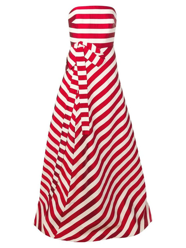 Delpozo striped strapless gown - Red