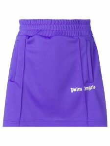 Palm Angels side stripe A-line track skirt - Purple