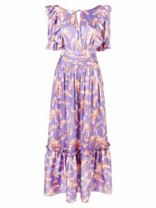 Three Floor floral print ruffle dress - Purple