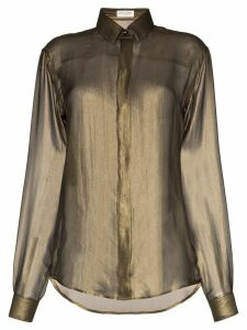 Saint Laurent diaphanous long-sleeved silk shirt - Gold