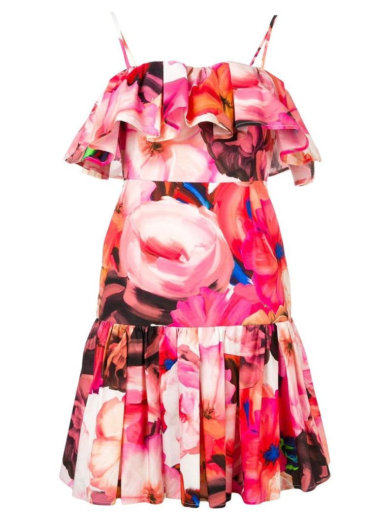 MSGM ruffle floral dress - Pink