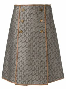 Gucci GG pattern a-line skirt - Brown
