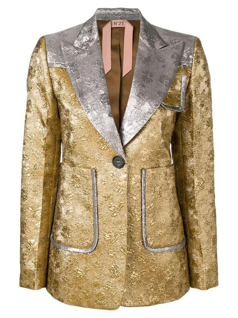 Nº21 contrast embroidered blazer - Gold