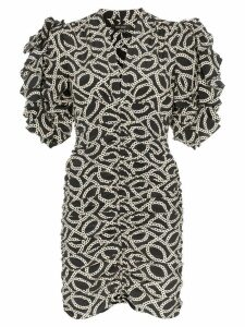 Isabel Marant Andor chain-print ruched stretch-silk dress - Black