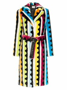 Mary Katrantzou stokes striped faux fur coat - Multicoloured