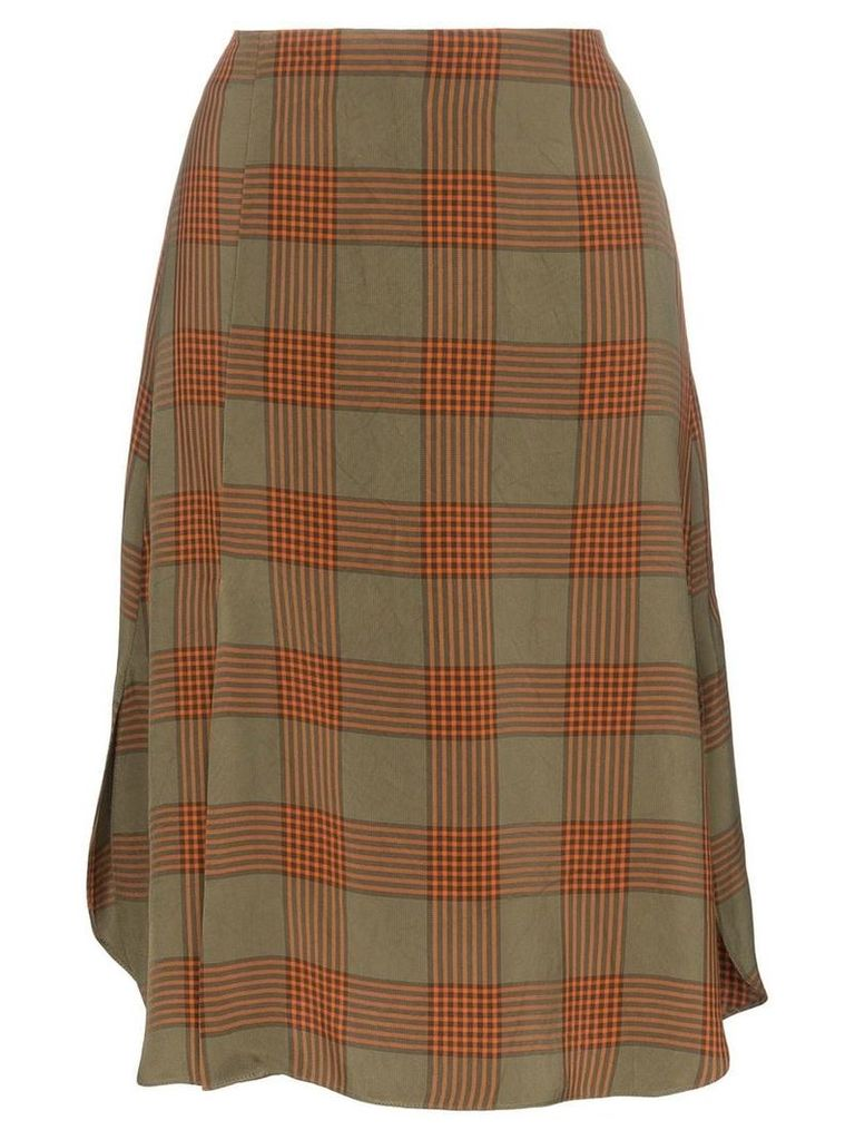 Wales Bonner check print A-line midi skirt - Brown