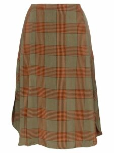 Wales Bonner check print A-line midi skirt - Brown