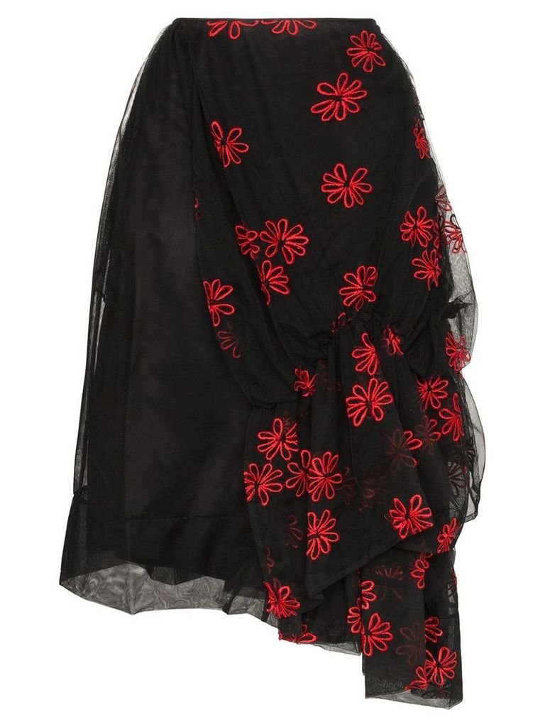 Simone Rocha Tulle floral embroidered skirt - Black