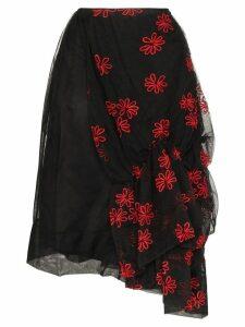 Simone Rocha Tulle floral embroidered skirt - Black