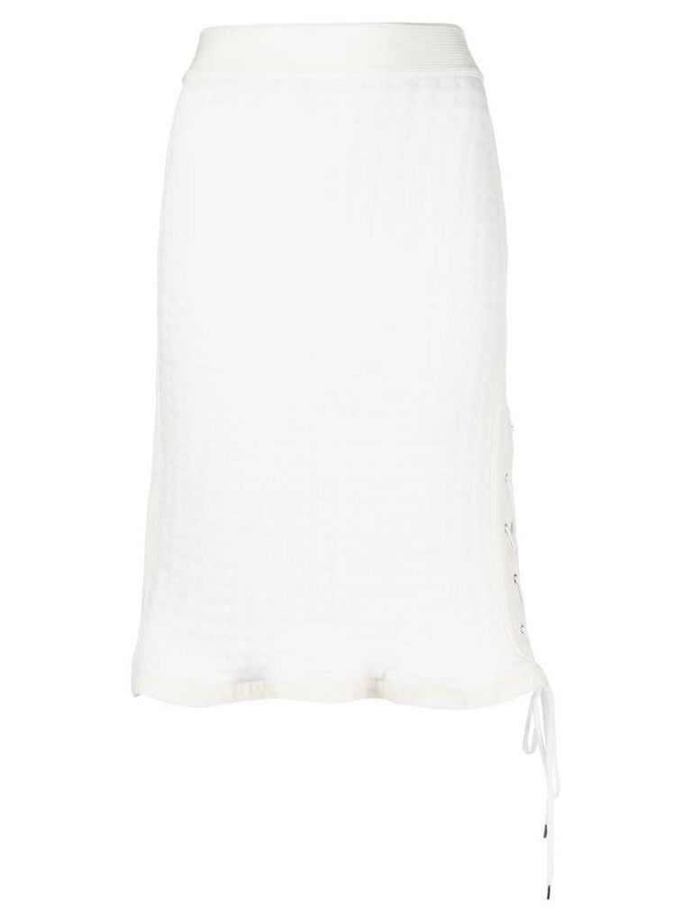 Paco Rabanne high waisted drawstring detail skirt - White