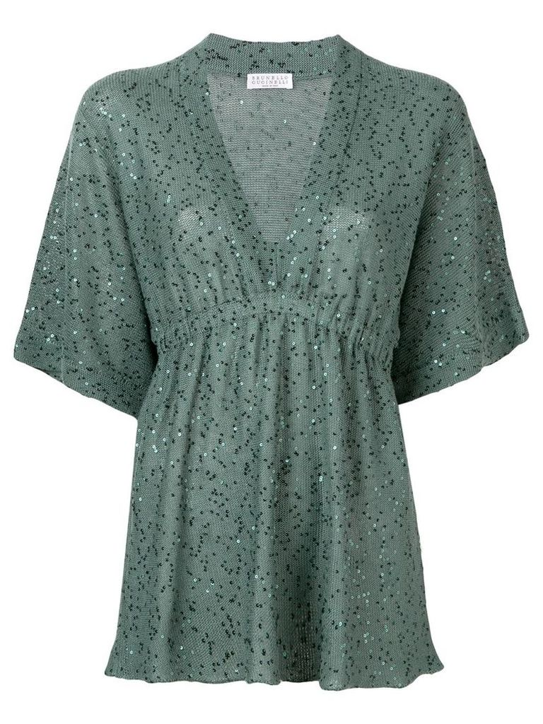 Brunello Cucinelli knitted sequin-embellished top - Green