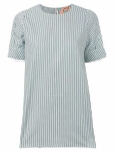 Nº21 gem detail slit sleeve stripe blouse - Green