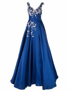 Marchesa beaded floral flared gown - Blue