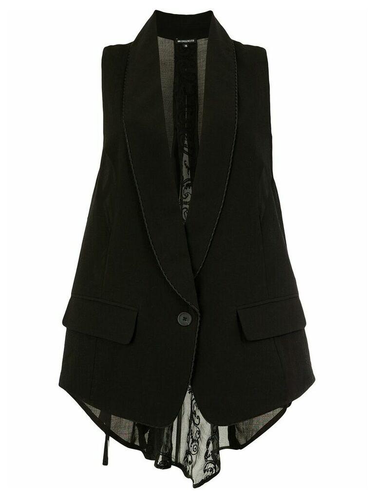 Ann Demeulemeester sheer back waistcoat - Black