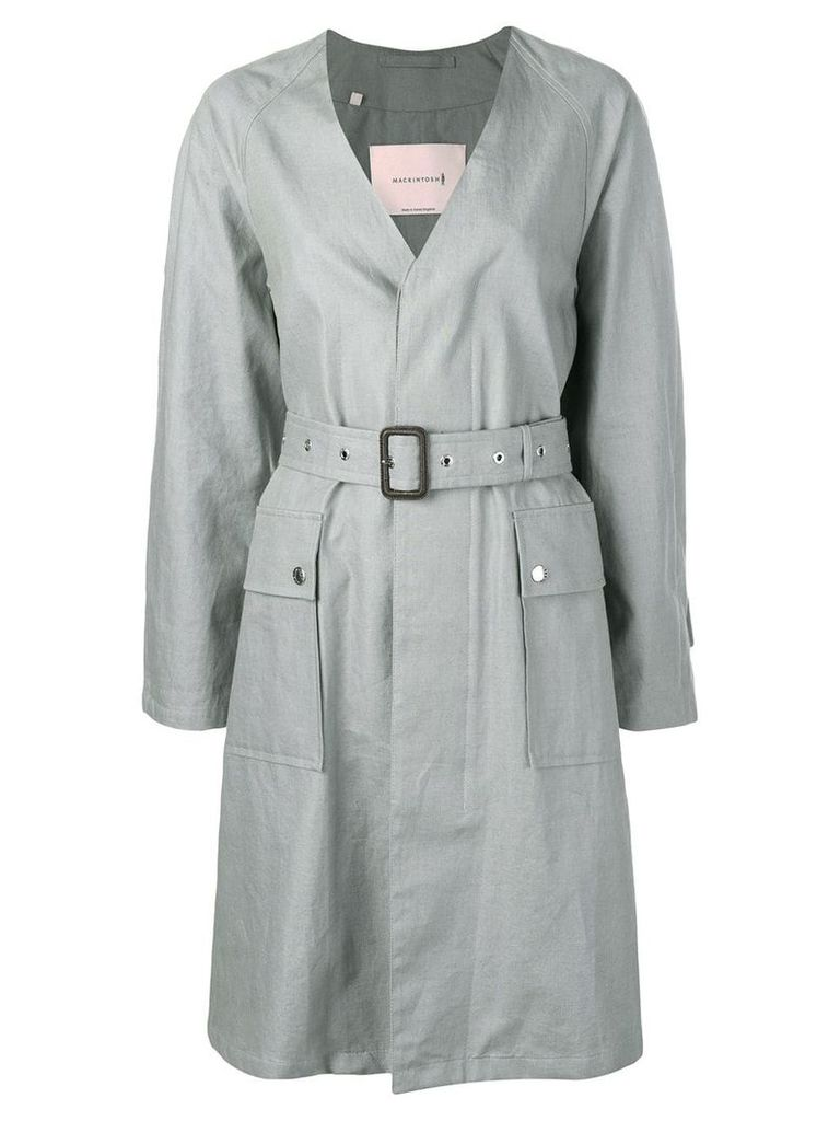 Mackintosh Slate Linen V-Neck Coat LM-096B - Grey