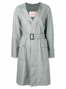 Mackintosh Slate Linen V-Neck Coat LM-096B - Grey