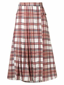 Rokh high-waisted check midi skirt - Red