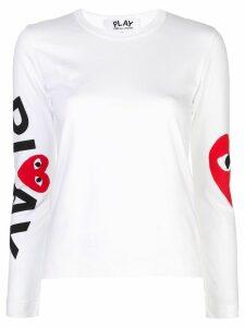 Comme Des Garçons Play big heart sleeve T-shirt - White