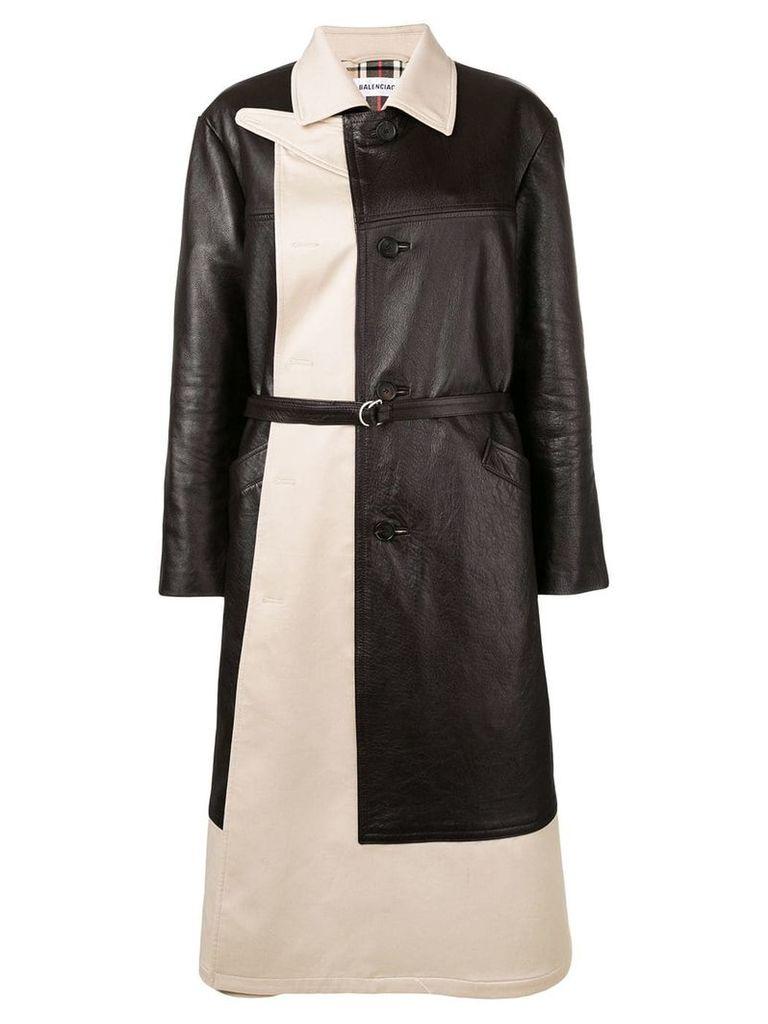 Balenciaga layered coat - Brown