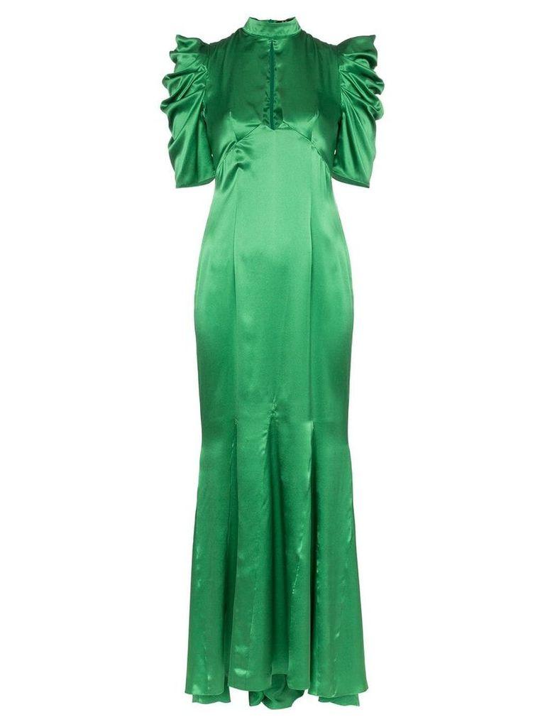 De La Vali Audrey keyhole-detail silk maxi dress - Green