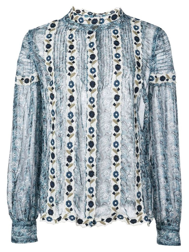 Sea Bella floral embroidered shirt - Blue