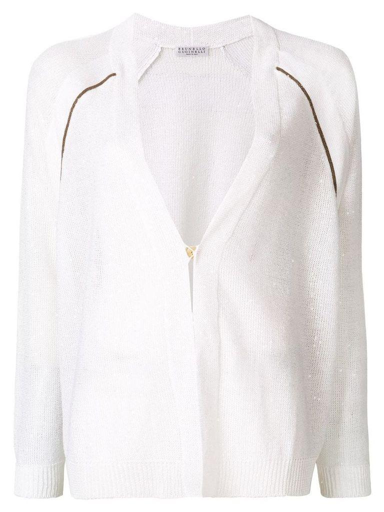 Brunello Cucinelli beaded raglan cardigan - White