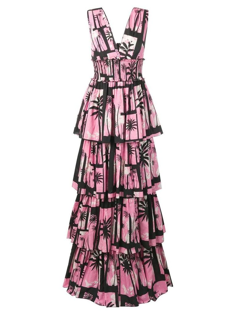 Fausto Puglisi tropical print tiered dress - Pink