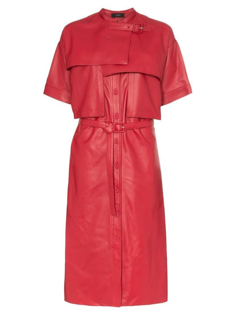 Joseph Riley collarless short-sleeved leather trench coat - Red