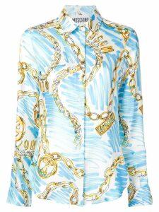 Moschino chains print silk shirt - Blue